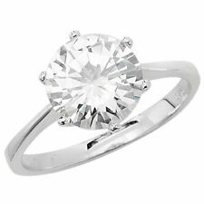 Cubic Zirconia Ring, Size N (7195) Sterling Silver Solitaire 9mm Round Sparling