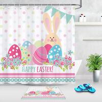 Cartoon Bunny Eggs Happy Easter Fabric Shower Curtain Bathroom Accessory Sets