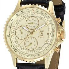 Mens Multifunction Gold Watch Black Leather Band Day Date Reloj de Hombres Cheap
