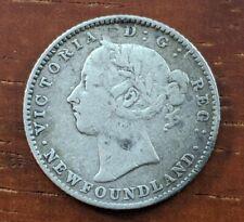 1890 Newfoundland Canada 10 Cent Piece Victoria Foreign Silver Dime Coin Lot D47