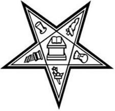 WHITE Vinyl Decal Eastern Star Emblem Window