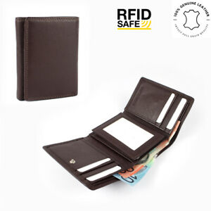 Men's Genuine Cowhide Soft Leather RFID 9 Cards Tri-Fold Wallet New Brown