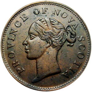 1843 Nova Scotia Canada Penny Token Breton 873