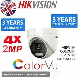4 x HIKVISION 2MP ColourVu Cam 2K WDR IP67 20M IR 4in1 TVI AHD CCTV Coax 2.8M UK