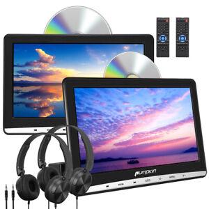 "2X 10.1"" Dual Screen HD Portable DVD Player Car Headrest Moniter TV USB SD AV-IN"