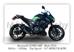 Kawasaki Z1000 ABS Motorcycle Poster - A3 Size Print on Photographic Paper
