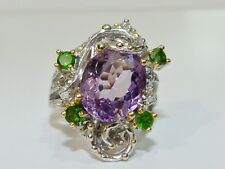 GENUINE! 6.58cts! Brazilian Amethyst & Chrome Diopside Ring Solid Sterling 925!