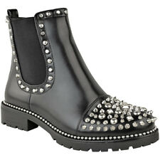 Womens Studded Ankle BOOTS Chunky Sole Low Heel Lace up Biker Goth Punk Size 6