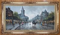 Devity Oil on Canvas Paris Street Scene Art Painting Signed Framed
