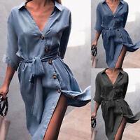 V-Neck Button Women Half Sleeve With Sashes Shirt Dress Sundress Midi Skirt New
