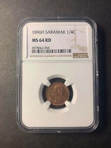 Sarawak Rajah Brooke 1/4 cent 1896 GEM uncirculated NGC MS64 RD