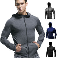 Men's Compression Hoodie Workout Gym Running Hooded Zip Up Long Sleeve Shirts