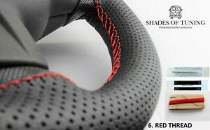FOR MACK PINNACLE 14- BLACK PERF LEATHER STEERING WHEEL COVER  RED STITCH