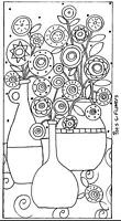 RUG HOOK CRAFT PAPER PATTERN Pots & Flowers ABSTRACT FOLK ART Karla Gerard