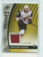 CHRISTIAN FISCHER 2017-18 UD SP Game Used Authentic Rookies Gold Jersey #D /399