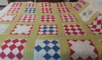 """Vintage hand made quilt Squares on point or Nine-patch on point~ 66"""" x 66"""""""