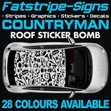 MINI Countryman TETTO STICKER BOMB grafica Adesivi Decalcomanie Uno Cooper S JCW R60