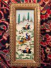 Antique Vintage Persian Miniature Painting Hunting Horses Khatam Inlaid Frame