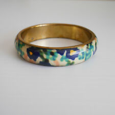 Floral Watercolour Bangle by BEE Jewellery Resin Brass Backed Hand Made Unique