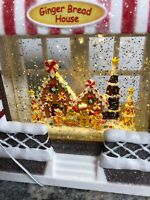 "10"" Led Christmas Snow Globe Water globe SWIRLING Gingerbread House"