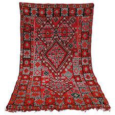 Old Vintage Moroccan Handmade Boujad Boujaad Beni ourain carpet Rug 6.6 x 9.6 ft