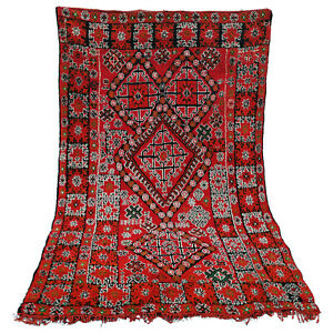 Old Vintage Moroccan Handmade Boujad Boujaad Beni ourain carpet Rug 6.6 x 9.6 ft