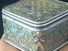 Antique French Box Enamel Boîte Argent Emaillé Art Nouveau Jugendstil Anges
