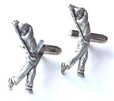 Golfer Golfing Hand Made Pewter Cufflinks (N308) Gift Boxed