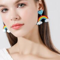 Fashion Women Rainbow Heart Acrylic Earrings Drop Dangle Hook Ear Stud Jewelry