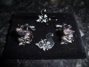 Steward's Cufflink / Tieslide/ lapel pin set, Masonic craft (silv plate)