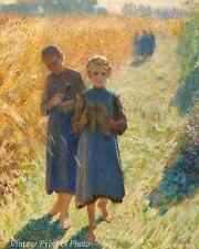 Farm Girls Golden Rural Scene Art - Country Life by Emile Claus  8x10 Print 0455