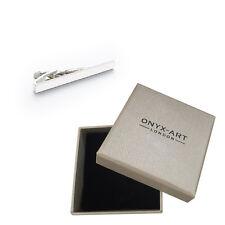 Rhodium Plain Silver Fashion Tie Bar In Deluxe Gift Box