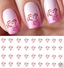 Ornate Heart Nail Art Waterslide Decals - Salon Quality Great for Valentines Day