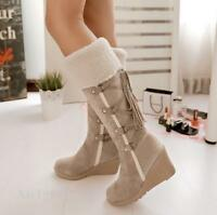 2017 Women's Knee High Boots Faux Suede Fringe Wedge Heel Tassels Strappy Shoes