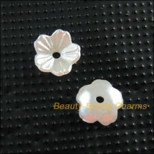 120 New Charms Acrylic Plastic Flower Leaf Spacer End Bead Caps White 8mm
