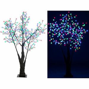 Leuchtbaum: LED-Deko-Kirschbaum, 336 farbig beleuchtete Blüten, 180 cm, IP44