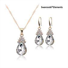 collier chaîne boucles d'oreilles goutte d'eau Swarovski® Elements transparents