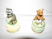 2 Melodies County Fair Collection Bear & Racoon Musical Trinket Box's