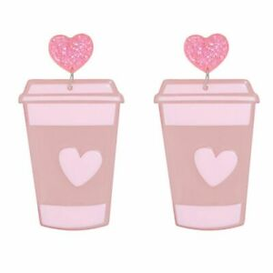 AU Seller Light Pink Coffee Cup Drink Beverage Pendant Love Funky Gift