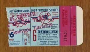 1957 World Series game 6 ticket Yankees v Braves Aaron Berra HR