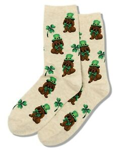 Hot Sox Women's Irish Pup Cream Crew Socks One Size