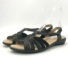 Hotter Sandals UK 9 Black Leather Flat Comfortable Casual Buckle Closure  261321