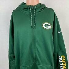 Nike Green Bay Packers Full Zip Therma Fit Hoodie Sweatshirt NFL Onfield Size XL