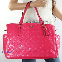 NWT Coach OP Art Patent Leather Baby Diaper Multifunction Tote Bag F26030 Pink