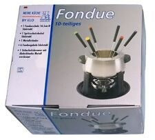 ELO Edelstahl Fondue Set 10-teilig mit Sicherheits Brenner & 6 Fonduegabeln