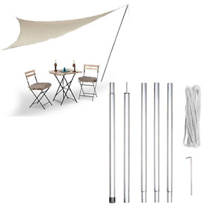 Sun Shade Sail Pole Kit Mounting 2.5m Portable with Guy Rope Garden Beach Picnic