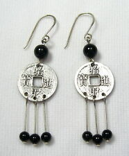 Coin Drop Earrings Silver Lyns Jewelry Black Onyx