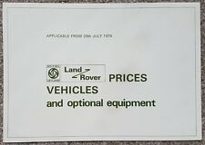 Land-Rover Vehicle, Prices & Equipment List  - July 1974
