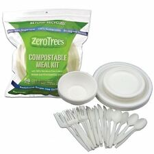 EarthSmart Zero Trees 68-Piece Compostable Tableware Kit Plates Bowls Cutlery