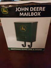 JOHN DEERE GREEN LOGO WALL MOUNT MAILBOX W/ NEWSPAPER HOOKS & NAMEPLATE